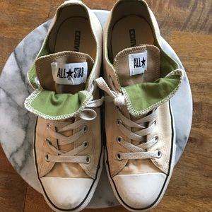 Tan and Green Converse Sneakers